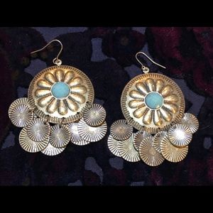 Boho brass look coin earrings. Pierced.